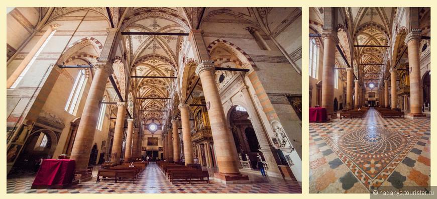 Мраморные полы 1462 года, центральный неф и своды базилики.