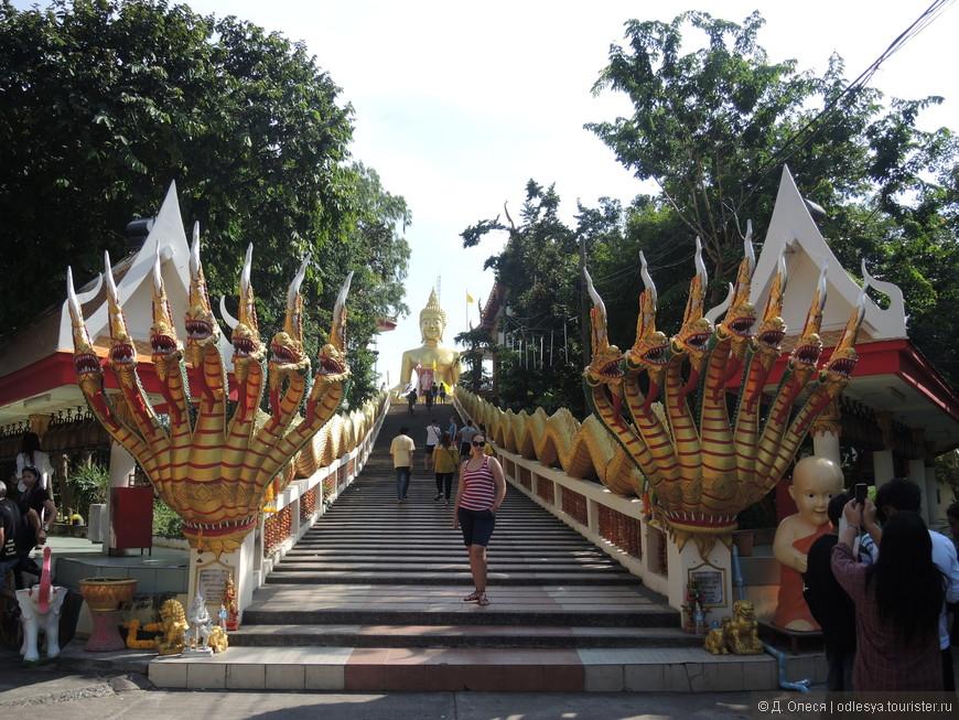 от подножия Большого Будды спускаются две мифологические змеи с семью головами