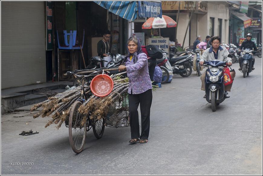 По улице в обоих направлениях курсируют торговцы всех мастей. Вот милая мадам везет целый ворох из тростника. Он — вполне съедобный.