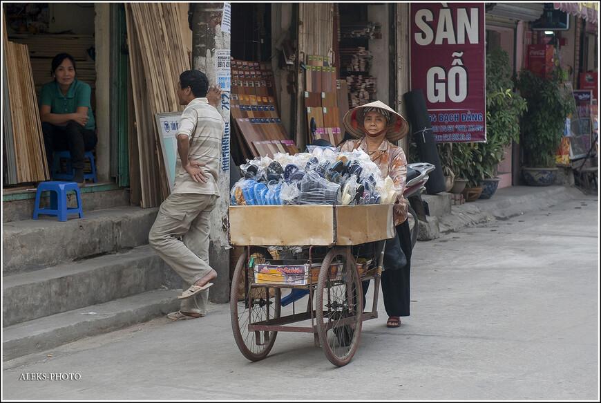 Всякие повозки, брички и тележки — непременный атрибут вьетнамской столицы. Вьеты, в этом отношении, очень похожи на тайцев. Уличная торговля и там и там идет на ура.