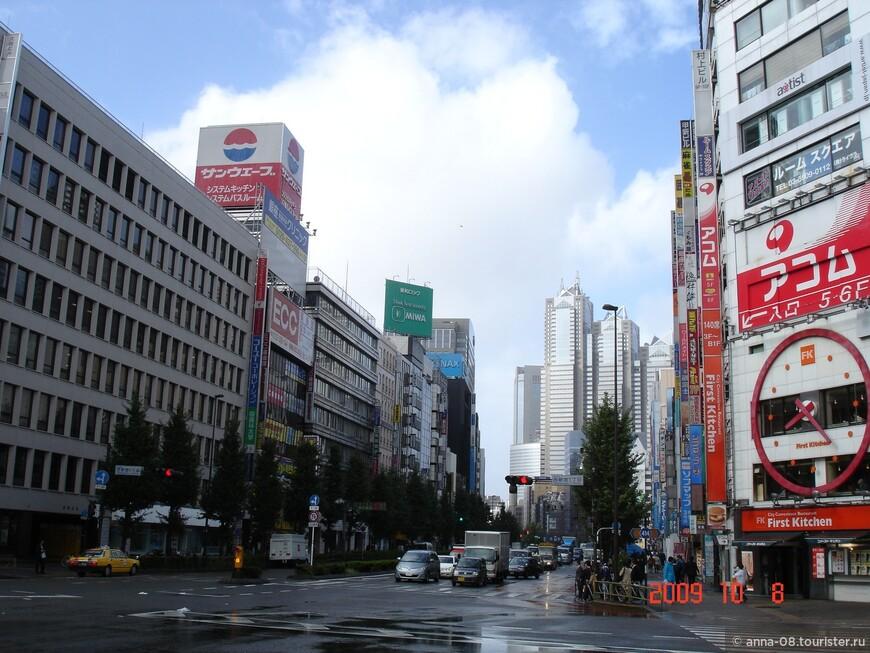 Улица Косю кайдо, которая ведет от вокзала Синдзюку к моему отелю. По ней можно дойти и до префектуры Токио.