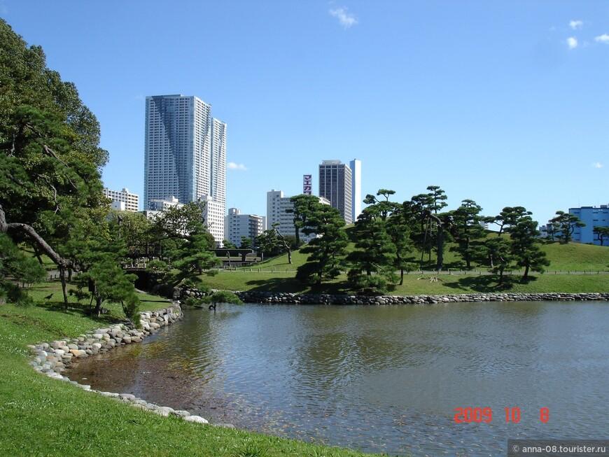 Сад Хамарикю расположен на берегу токийского залива, и уровень воды в его водоемах меняется в зависимости от приливов и отливов.
