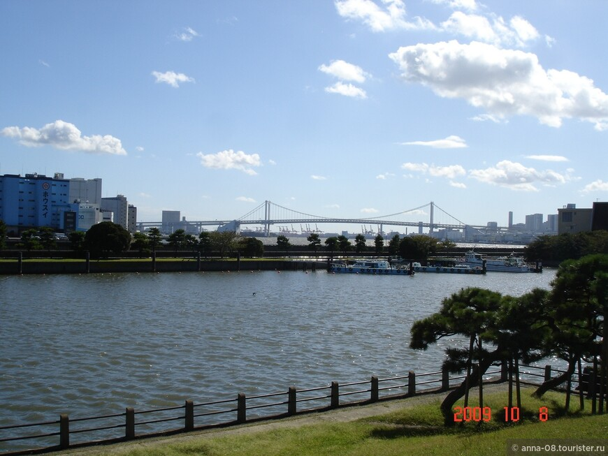 Вдали виднеется Радужный мост.