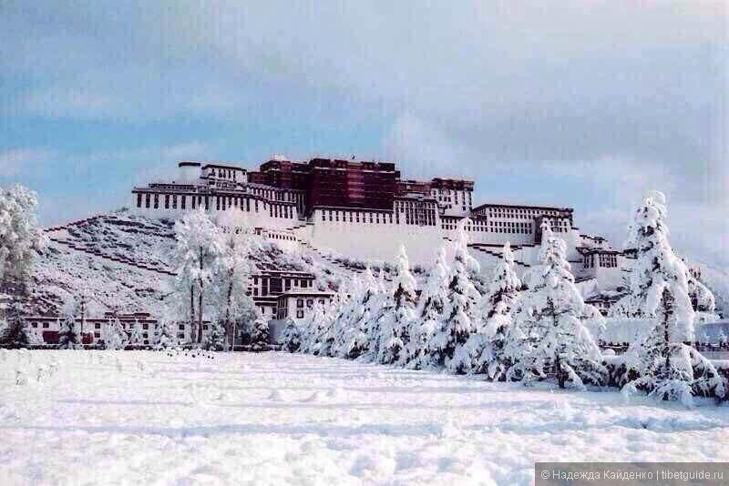 Дворец Потала в снежный день
