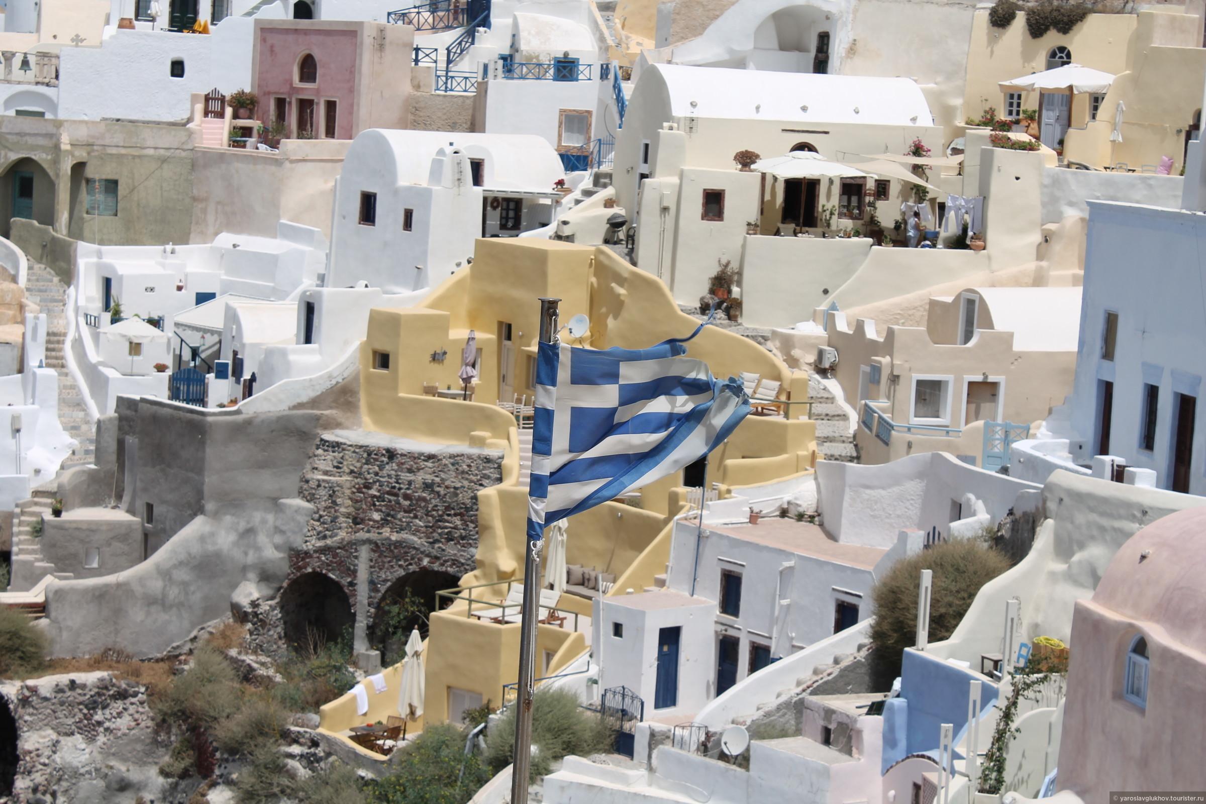 Греческие флаги везде и повсюду!, Санторини в деталях