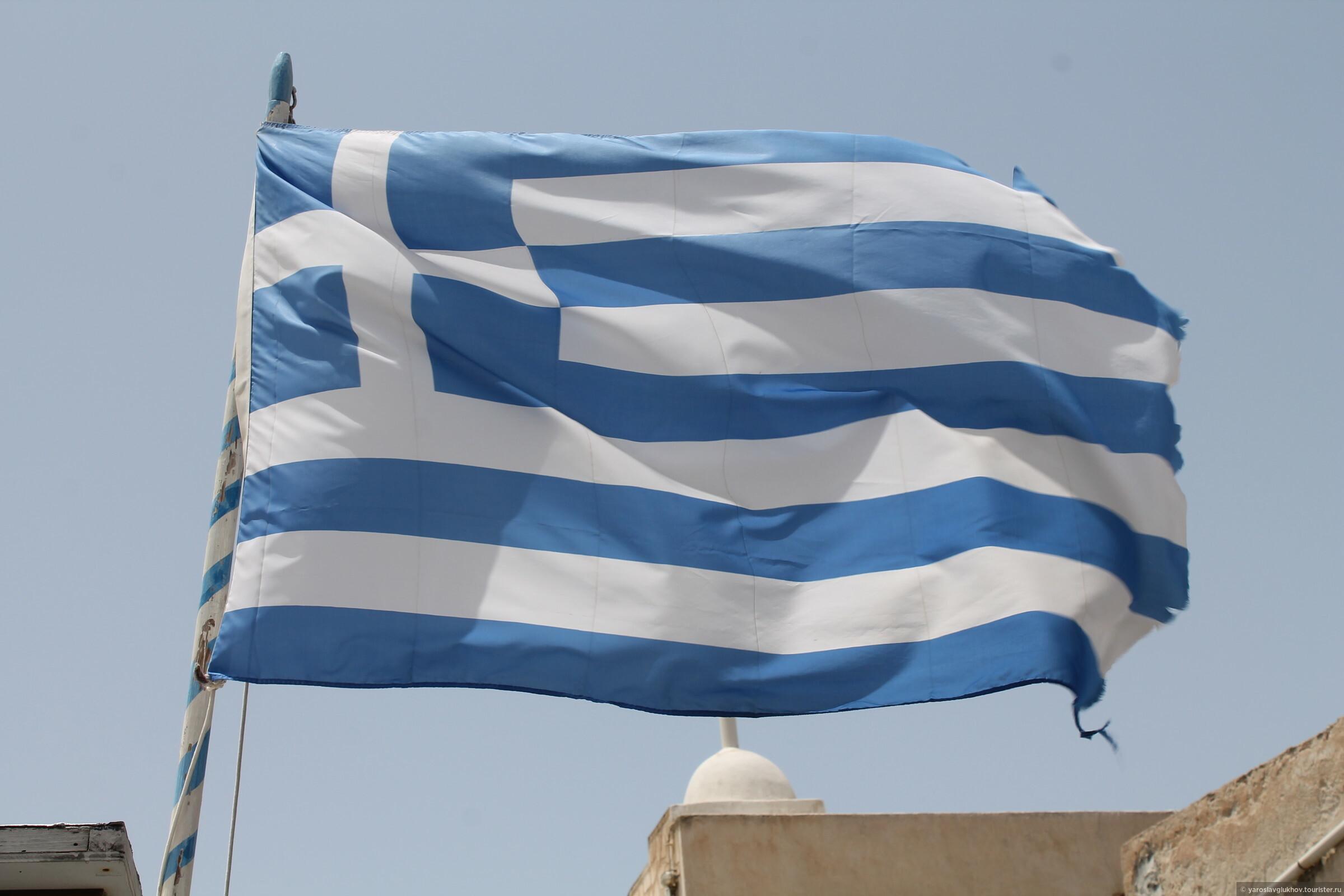Греческий флаг во всём своём великолепии., Санторини в деталях