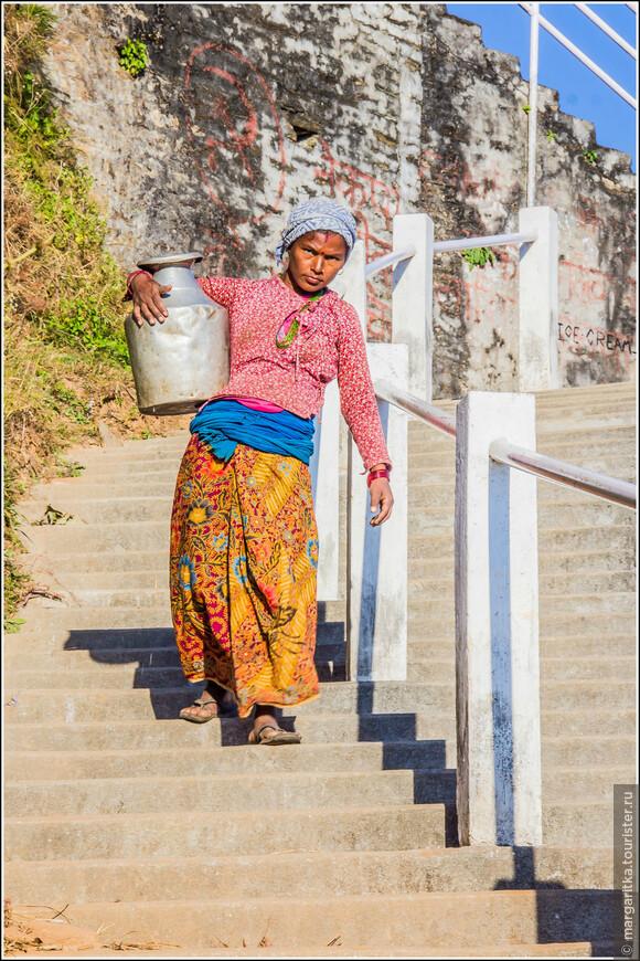 Атобус останавливается на развилке, после которой еще немного надо пройти в гору по дороге, чтобы подойти ск ступеням, ведущим на вершину Ананда холма. Такси подъезжает прямо к самим ступеням,  около которых образована небольшая стоянка для машин. Дальше только пешком.