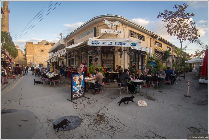 Северная Никосия. Ресторан и разбегание котов.