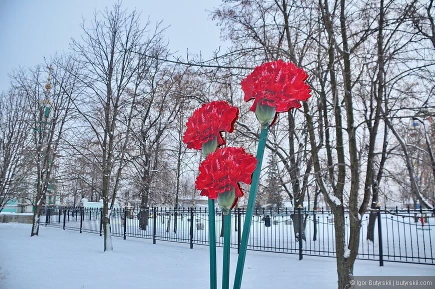 13. Парк перед вечным огнем, интересный элемент зимой.