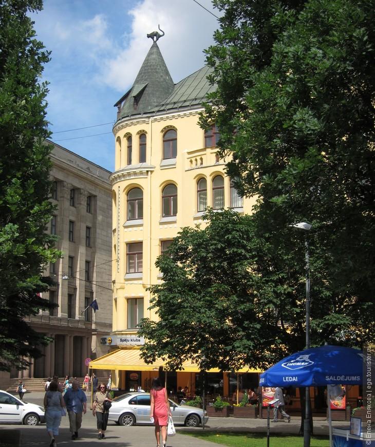 Кошкин дом находится в Старом городе на площади Ливов напротив здания Большой гильдии. Здание знаменито тем, что на крыше дома стоят два металлических кота. В 1910 году этот дом, как жилое и офисное здание, построил некий богатый латышский торговец, который не был принят в Большую гильдию. Торговец очень обиделся, и на крыше своего дома поставил двоих котов, хвостами обращенных к зданию Большой Гильдии, ясно показывая свое циническое отношение к гильдии и ее членам. Такой поступок вызвал большой скандал, и дело даже дошло до судебного процесса, но только по приказу городских властей железные коты были повернуты в другую сторону.