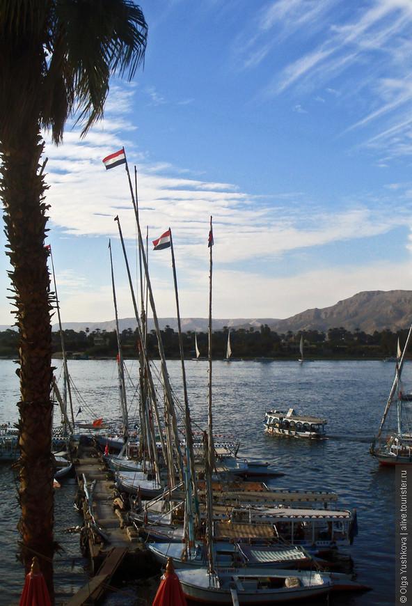 Уже на следующий день после прилёта в Хургаду перебрались в Луксор... И отправились гулять вдоль Нила... Здесь - вид с восточного берега Нила...