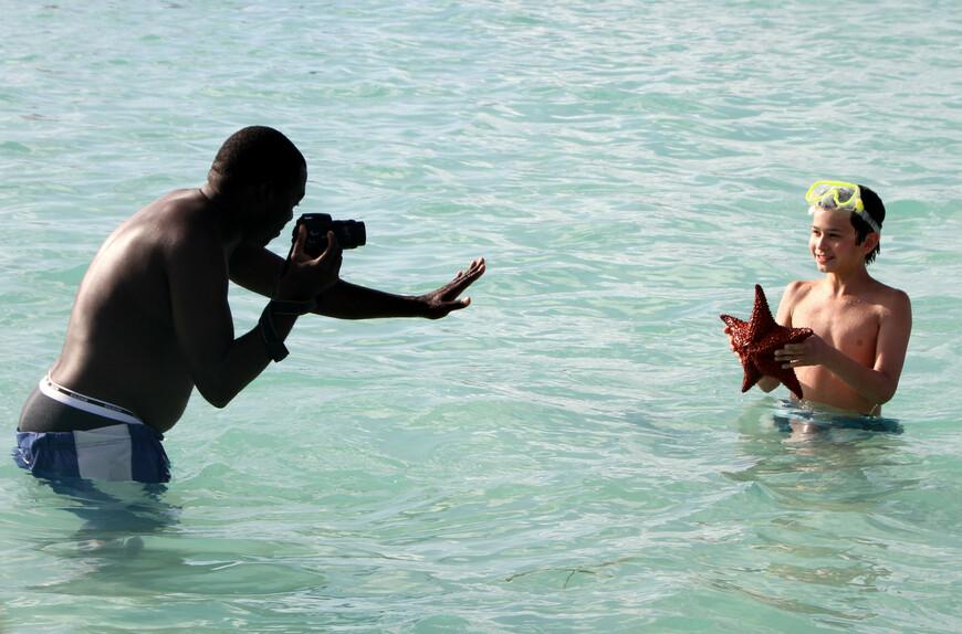 От мала до велика все хотят получить памятный снимок с этим беспозвоночным морским существом.