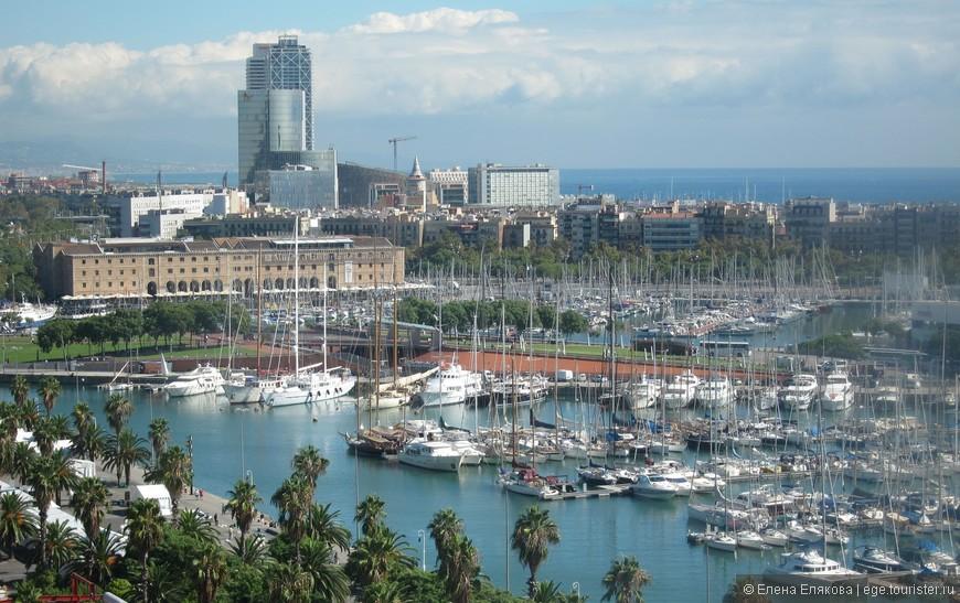 Барселона с  монумента Христовору Колумбу, набережная Моль де ла Фуста