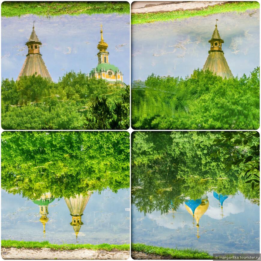 коллаж с разными отражениями, сделанными в монастырском пруду в разное время