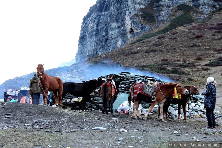 место стоянки, в этой хижине ночуют местные тибетские помощники, к ним за кипятком, людей на октябрьское полнолуние на Ченрезиг было неожиданно очень много, с утра в очередь за кипятком