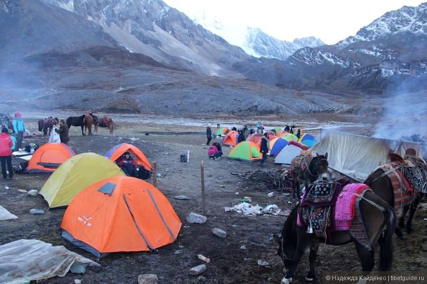 наш лагерь утром, сборы