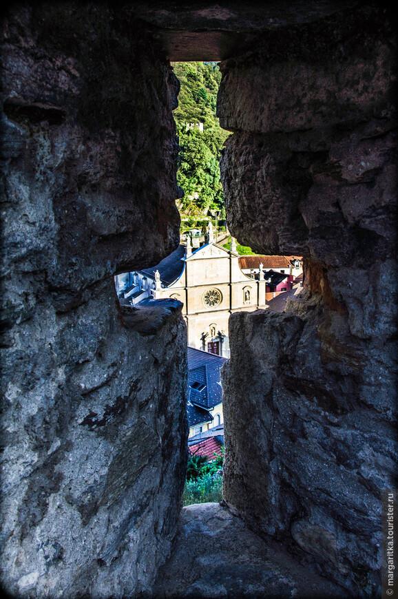 вид со стен замка на сарую часть города и главный собор Беллинцоны - Коллегиальная церковь святых Петра и Стефана (Chiesa collegiata dei Santi Pietro e Stefano)