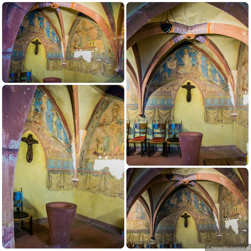 вот они эти уникальные фрески, которые, следуя реформаторской идее, в 1897/98 гг были забелены, а в  1958 и 1962 гг при реставрации претерпели значительное искажение. Но тем не менее, они являются ценным образцом средневековой  церковной живописи.
