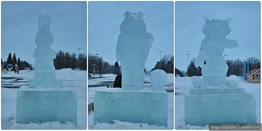 10. На площади перед администрацией стояли эти… символ Олимпиады, лед был прозрачным и абсолютно не различимые формы зверей, ЖКХ-арт.