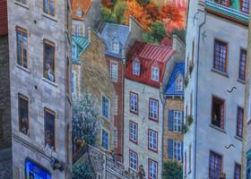"""Пети-Шампленская роспись """"Квебек-сити"""". Весь город, его история, исторические личности от Шамплена до наших дней, достижения квебекцев - все на этой стене. Даже времена года нашли отражение на картине."""