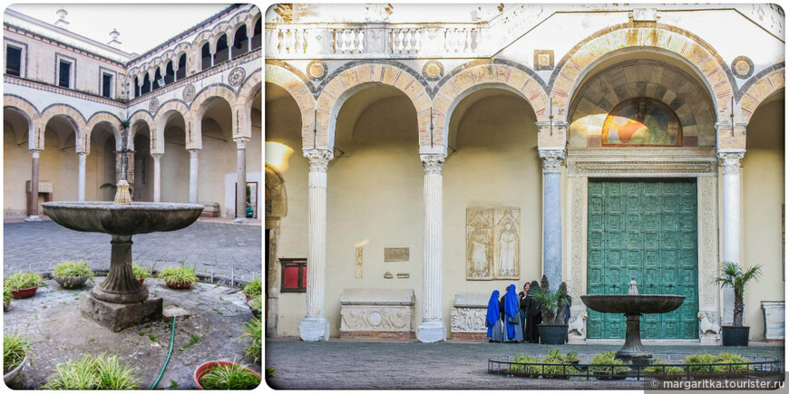 В центре атриума, образуемого квадрипортиком, установлен фонтан – старинная купель.