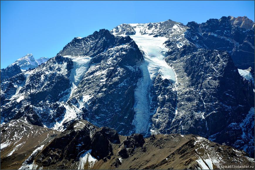 Если присмотреться, ледник напоминает своей формой хромого человечка.