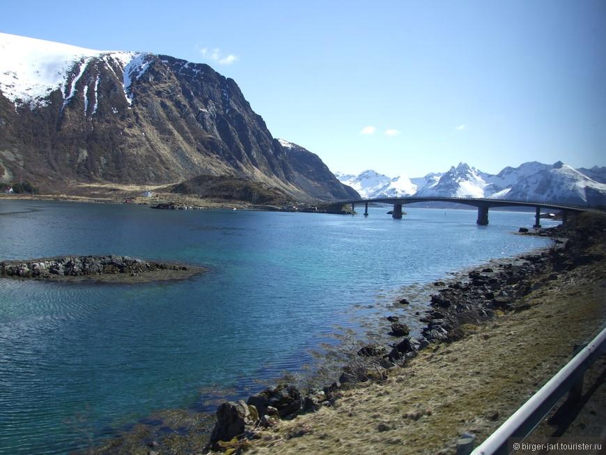 Дорога к Lofotr Vikingmuseum. Мост между островами Gimsoya и Vestvagoy.