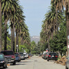 Вид на буквы Hollywood с одной из улочек Лос-Анджелеса