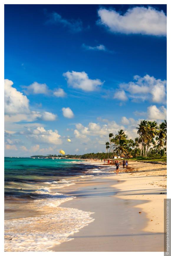 Гулять по Доминиканским пляжам одно удовольствие! Песок не нагревается вообще, несмотря на жару! А эти королевские пальмы, они повсюду...