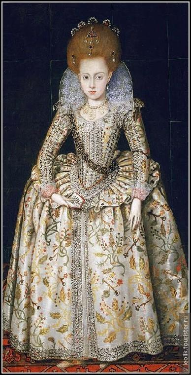 Портрет кисти Р.Пика 1603 год. Елизавете 10 лет.