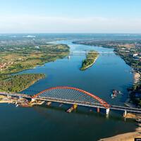 """Вид на строительство самого """"свежего"""" моста - Бугринского. На данный момент мост запущен в эксплуатацию."""