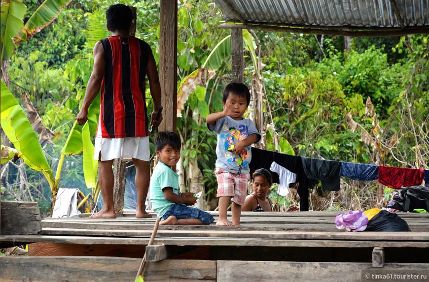 В одной из плавучих деревень на Амазонке.