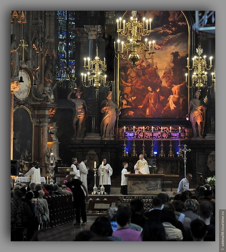 Прилетели мы в Вену после полудня 8 мая.Так ,как наша квартира была расположена в пяти минутах ходьбы от центральной площади города, первым мы увидели величественный собор Святого Стефана. Успели до закрытия и в Петерскирхе, расположенную совсем рядом.