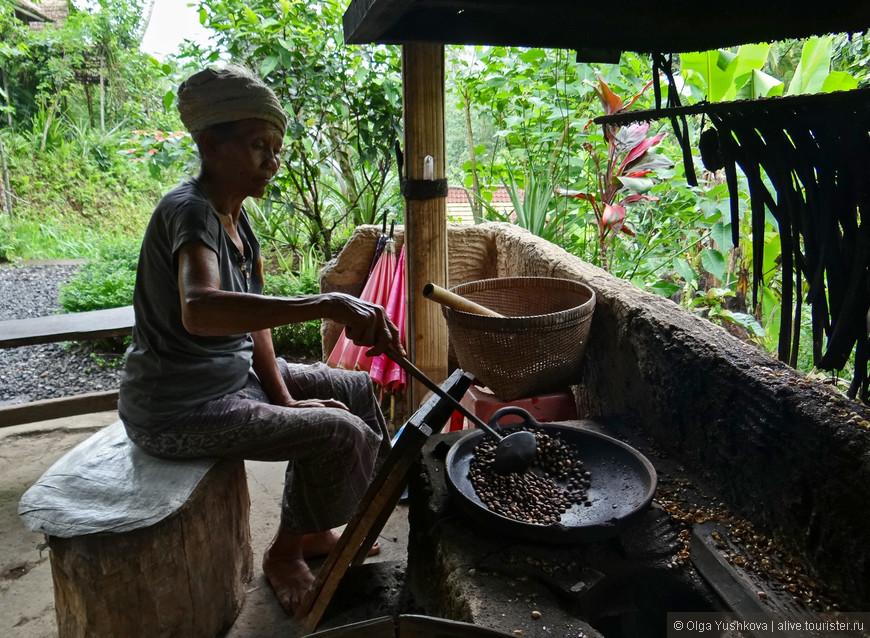 В окрестностях Убуда есть и плантации кофе... Здесь можно продегустировать различные сорта кофе (и чая), в том числе и один из самых элитных сортов - кофе Лувак (правда, этот сорт придётся дегустировать уже за деньги, тогда как все остальные - бесплатно). Производится этот Лувак чудесным зверьком - мусангом. Зверька кормят спелыми плодами с кофейного дерева и потом он их... выкакивает обратно в виде зернышек кофе. Звучит не очень, но это так... :)))))