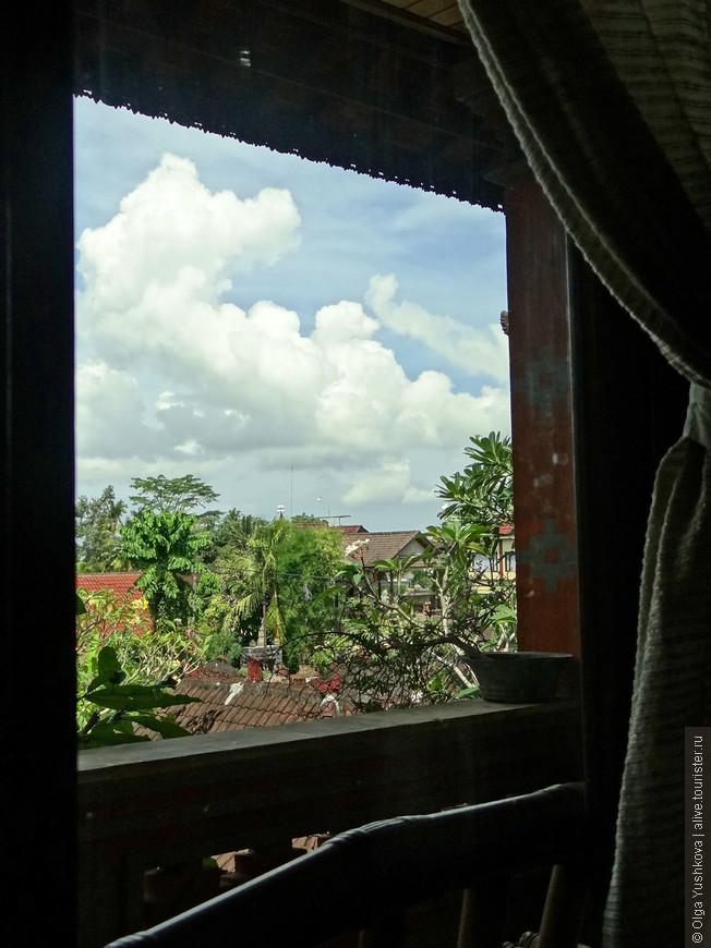 Вид на Убуд из окна нашего номера...