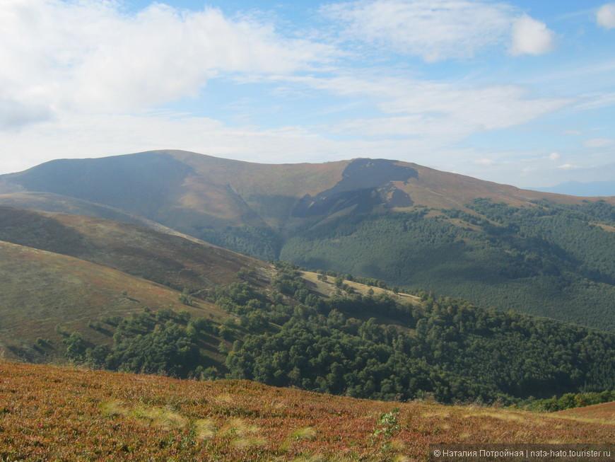 Разноцветные, особенно в начале осени, горы, здесь все оттенки зеленного и охры.