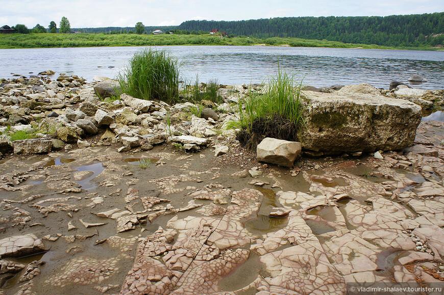 На некоторых участках дно имеет форму каменной плиты довольно больших размеров.