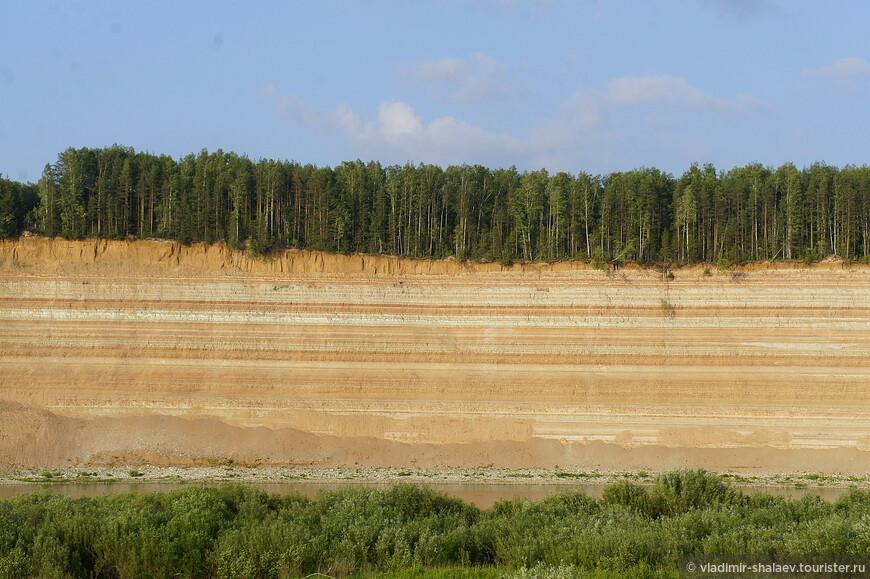 Иногда, стоя на противоположном берегу Сухоны можно слышать как осыпается грунт со скальных обнажений, а деревья, стоящие на самом краю срываются вниз.