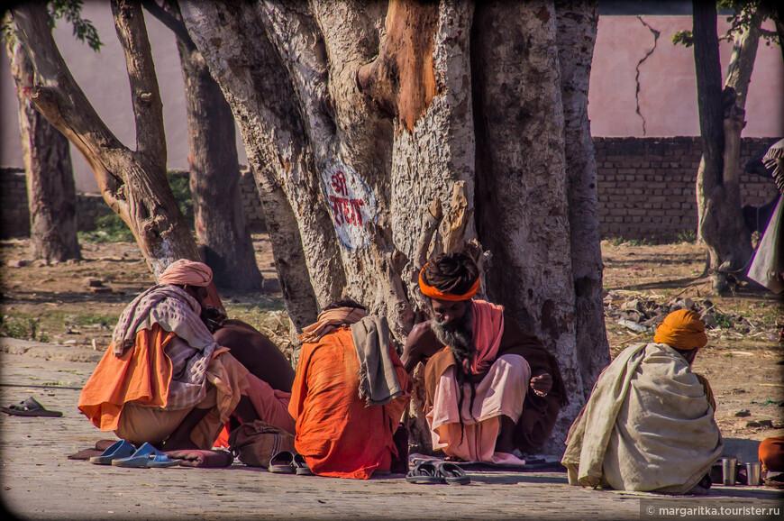 под каждым мало мальски большим деревом располагаются странствующие практики. Оратите внимание обувь у священного дерева, как в храме снимается