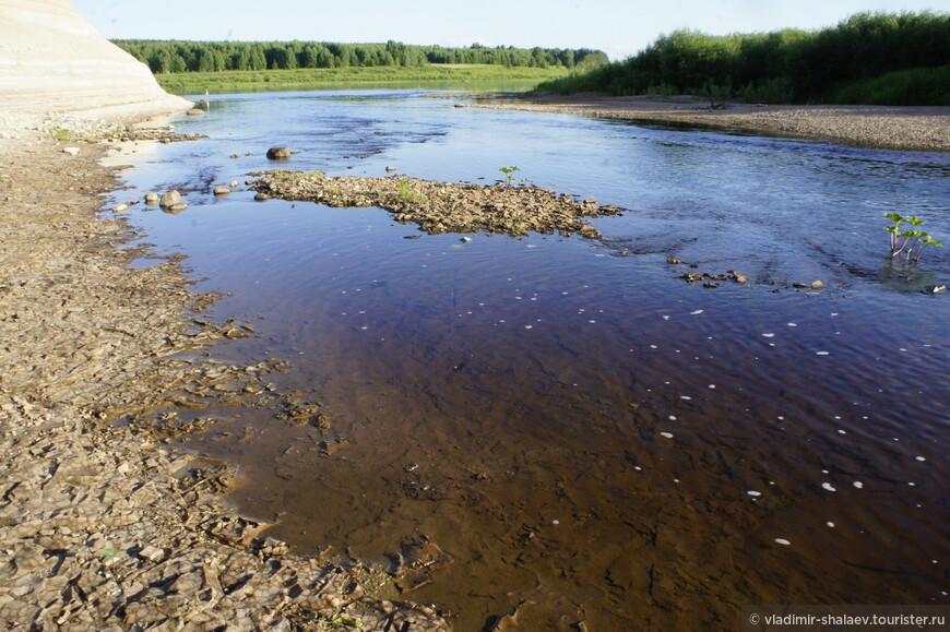 """Когда река мелеет, образуются небольшие каменные """"необитаемые"""" островки."""