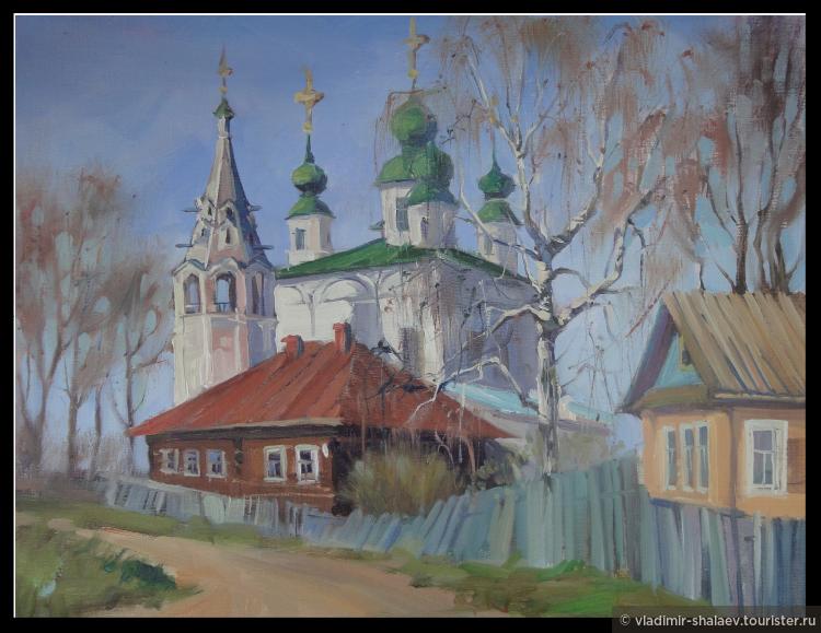 Морозовицу любят рисовать художники. Так увидела Троицкий собор художница из Череповца Екатерина Крылова.