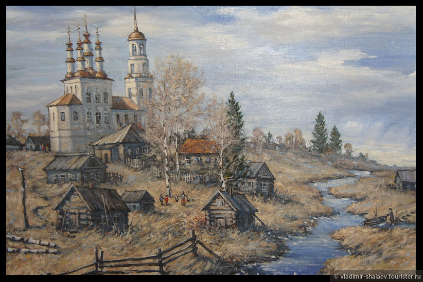 Вид на Хоробардину гору от соляных скважин на реке Ковда на картине вологодского художника Валерия Попова.