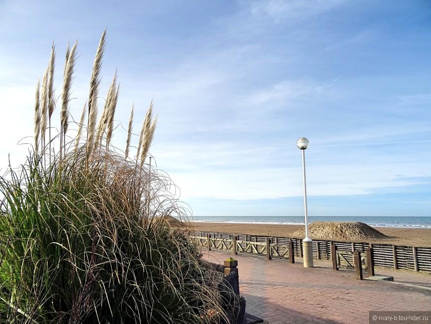 Променад вдоль широкого песчаного пляжа был практически пуст - прогуливались только мы и пенсионеры с собачками