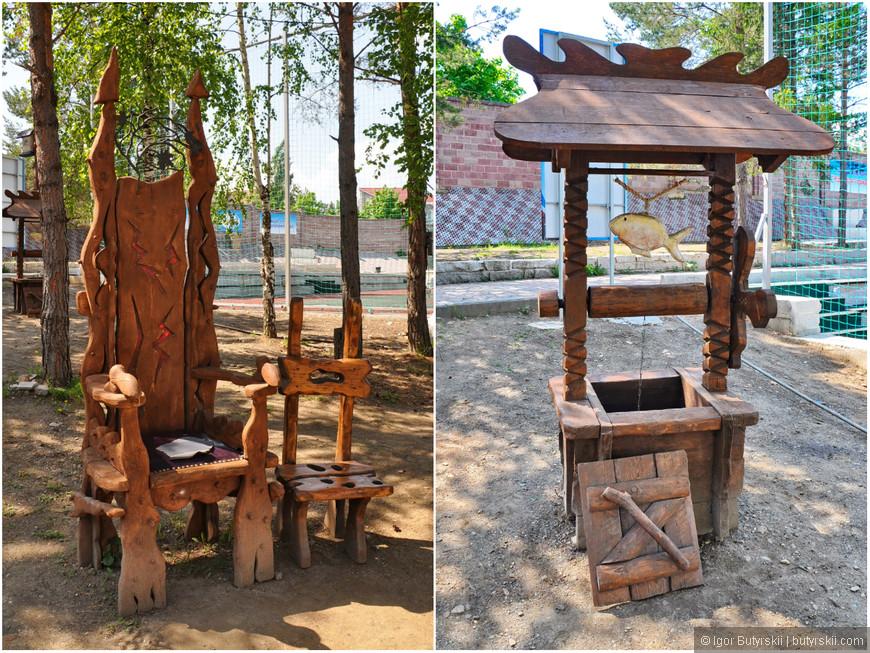 20. Тематическая фотозона парка, как я понял. Тут и трон и колодец и много разных элементов.