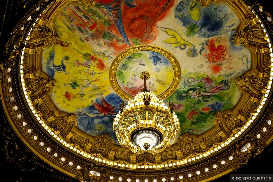 А на потолке, расписанном Марком Шагалом в 1964 году, изображены сцены из известных опер и балетов, перемежающиеся главными достопримечательностями Парижа.