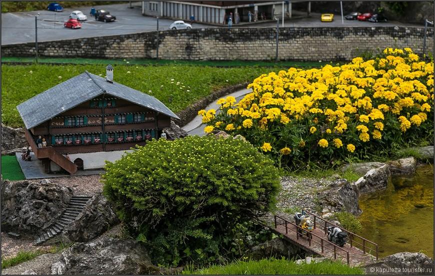 В парке можно увидеть большое количество типичных альпийский деревушек, шале, ресторанов, отелей.