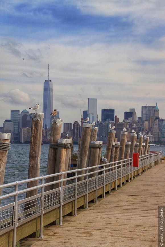 С острова Свободы открывается замечательный вид на Манхэттен. Обилие чаек добавляло всему этому морского колорита, ветер гнал волны, октябрьский ветер задувал и холодил, и я проникалась сочувствием к тем, что очень и очень много лет назад рискнул отправиться в неведомую Америку...