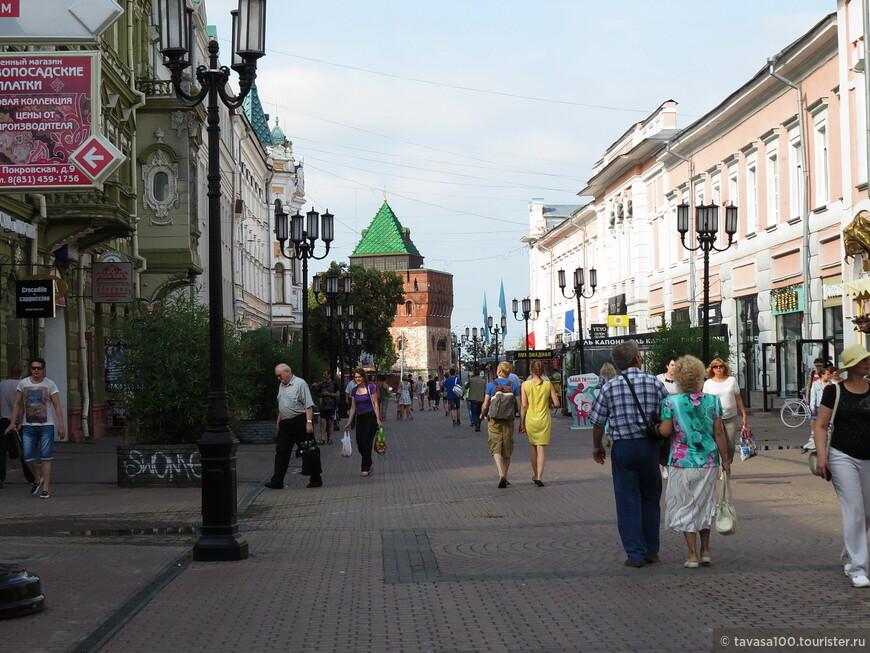 Большая Покровская - самая старинная улица Нижнего Новгорода. Улица пешеходная, длина более 1200 м