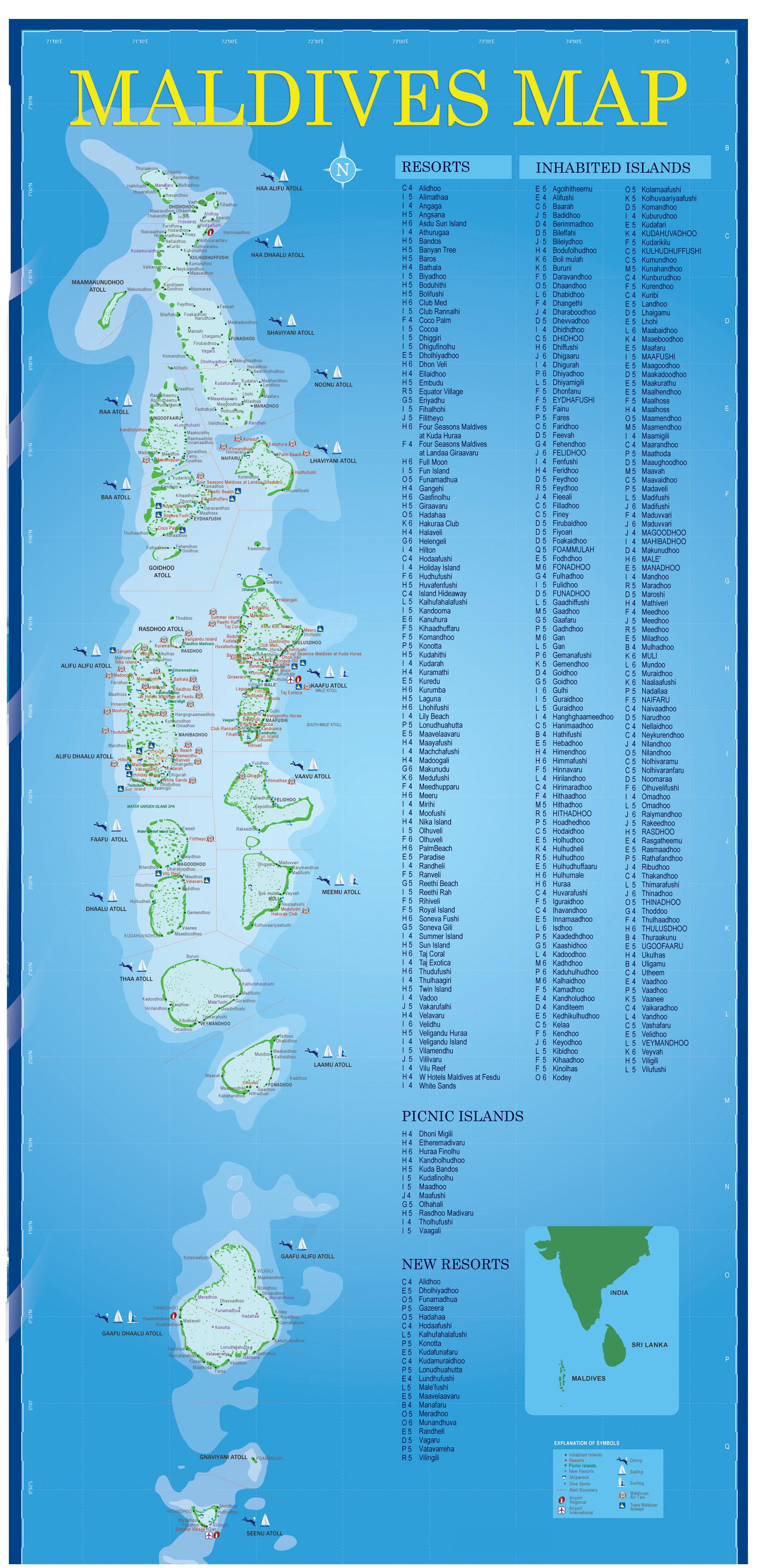Отели мальдив на карте