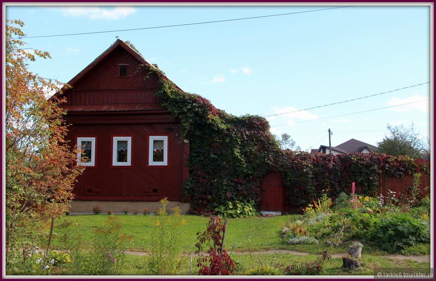 Дом очень гармонично смотрелся с обвивавшим его диким виноградником  того же цвета.